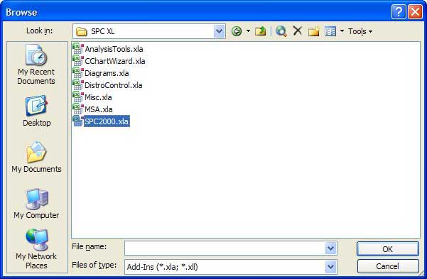 Browse for SPC XL In Windows Explorer