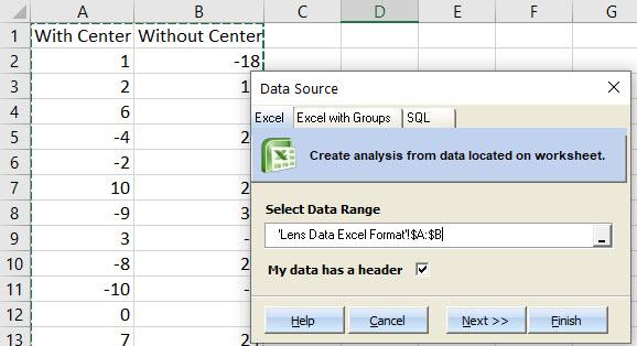 Lens Data both columns selected