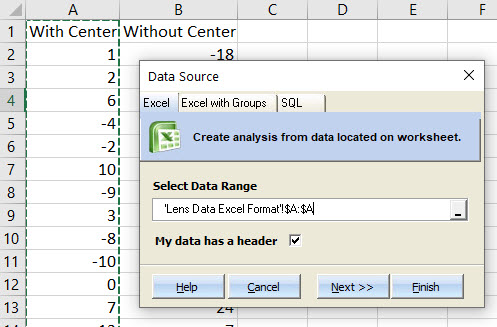 With Center dataset selection
